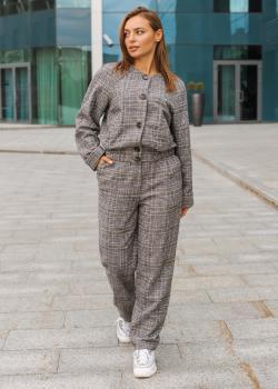 Женский костюм Оксфорд (кофта + штаны) серый