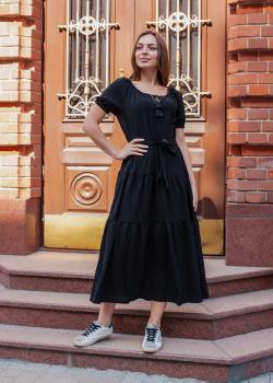 Женское хлопковое платье чёрное