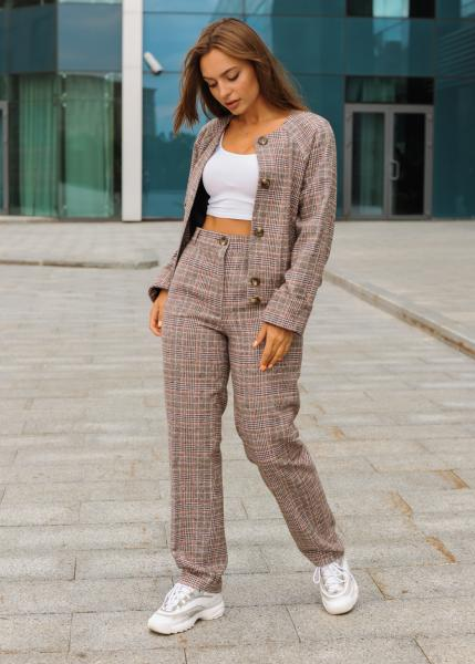 Женский костюм Оксфорд (кофта + штаны) коричневый