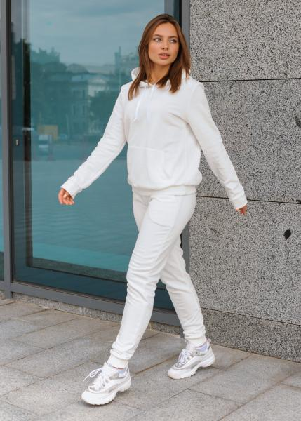 Женский костюм спортивный (худи + штаны) Клин белый