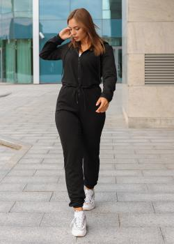 Женский комбинезон c капюшоном черный