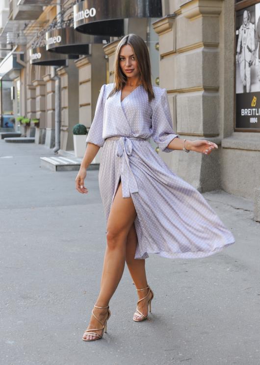 Платье Марго лиловое в горох