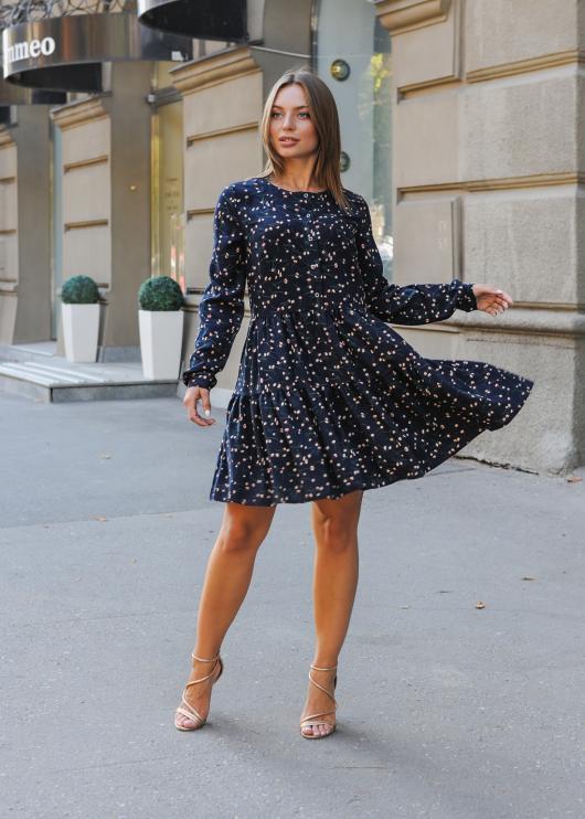 Платье Селин с длинным рукавом синее с цветочным принтом