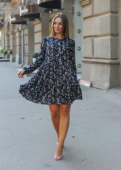 Платье синее с цветочным принтом Селин