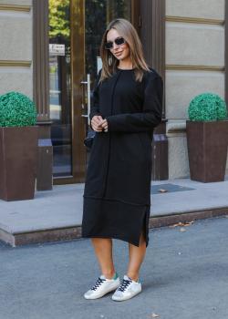 Платье утепленное черное