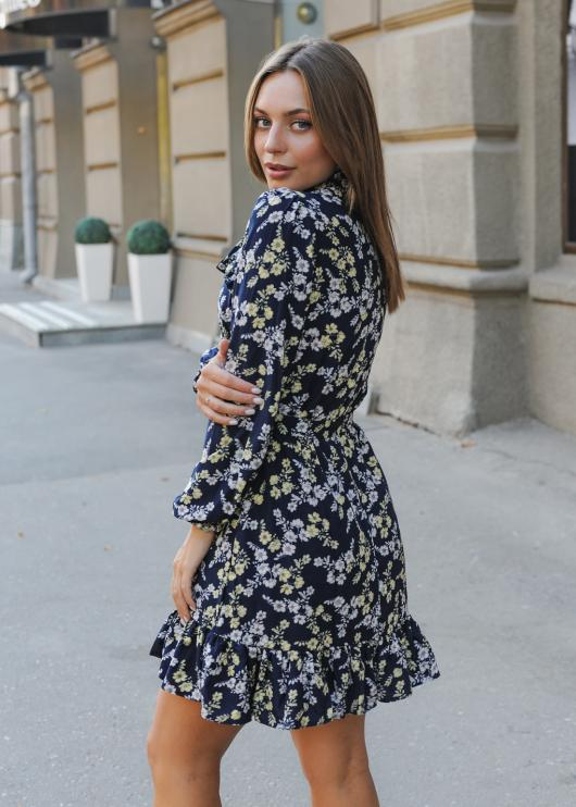 Женское платье Рюша тёмно-синие с цветочным принтом