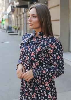 Женское платье Рюша тёмно-синие цветочный принт