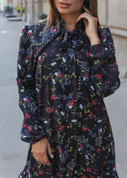 Женское платье Рюша чёрное с цветочным принтом