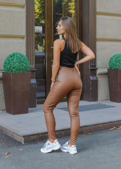 Женские лосины эко кожа коричневые
