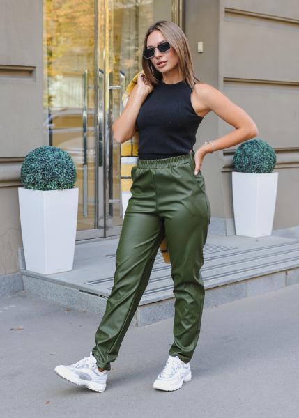 Женские штаны эко кожа зеленые