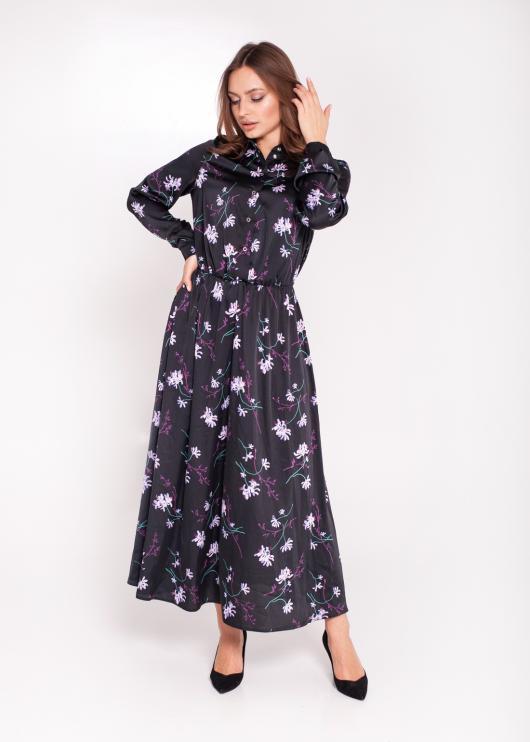 Шелковое женское платье чёрное с цветочным принтом