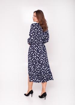 Женское платье тёмно-синее с принтом перо