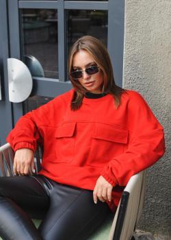 Женская теплая кофта Альфа красная