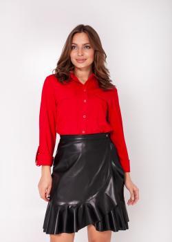Женская юбка из экокожи чёрная