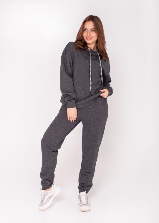Женский костюм спортивный (худи + штаны) Ситти тёмно-серый