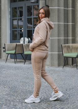 Женский костюм спортивный Клин (худи + штаны) бежевый