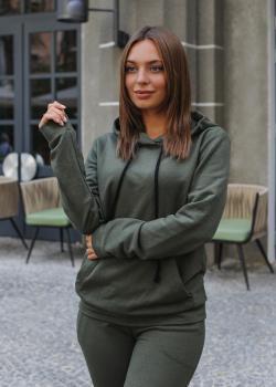 Женский костюм спортивный Клин (худи + штаны) зеленый