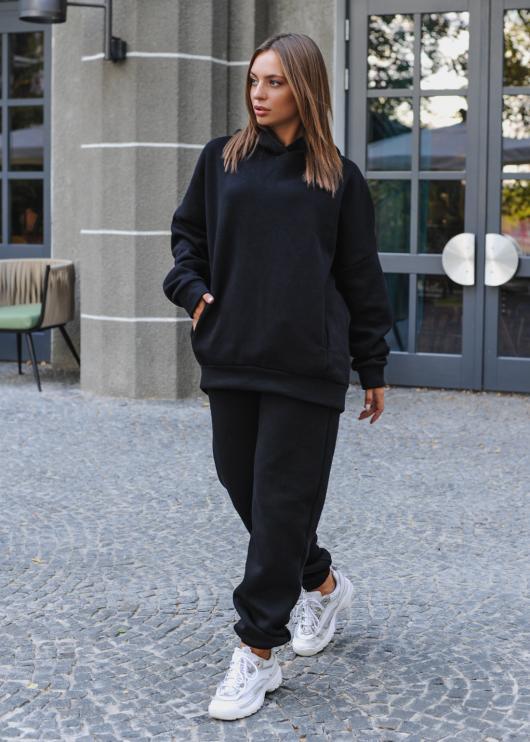 Женский костюм спортивный (худи + штаны) черный