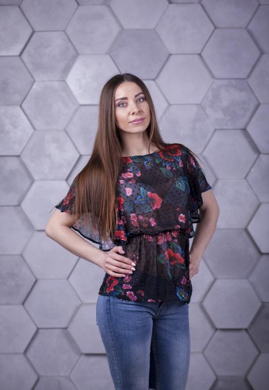 Блузка Ева черная с принтом