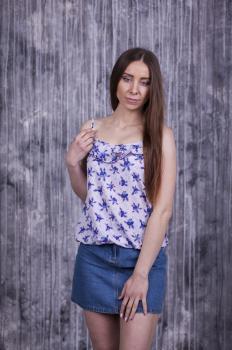 Майка Лиза фиолетовая с цветочным принтом