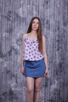 Майка Лиза розовая с цветочным принтом