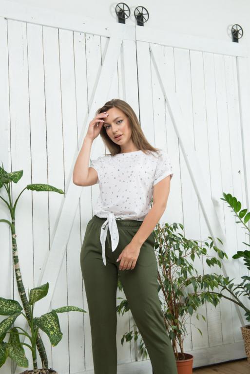 Женская летняя футболка на завязках белая с абстрактным принтом