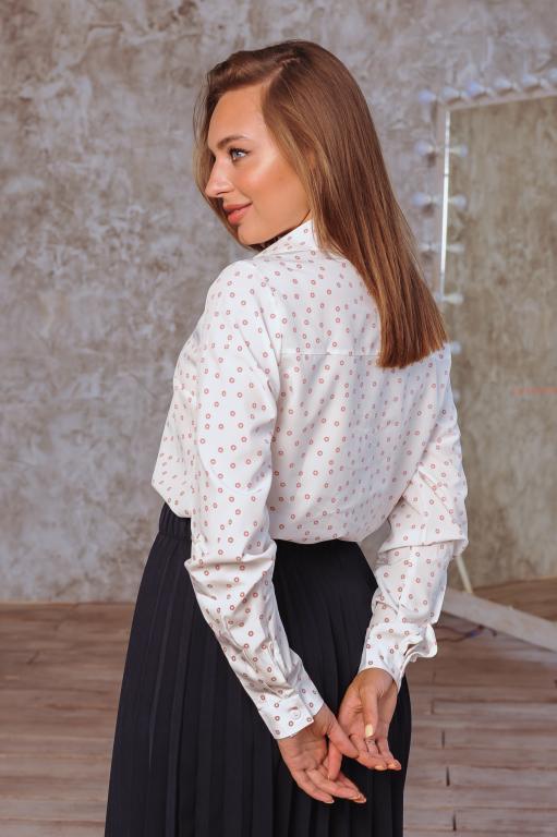Рубашка Слава молочная с принтом кружочек