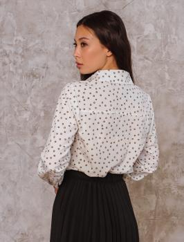 Рубашка Слава белая с принтом кружочек