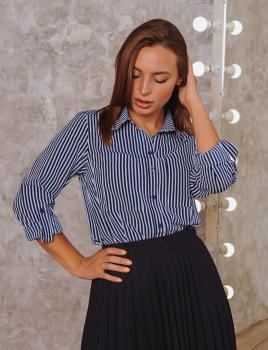 Женская рубашка Оскар синяя в полоску