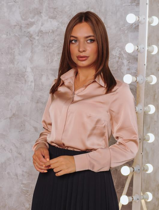 Рубашка Ника бежевая армани-шёлк