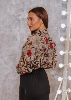 Женская рубашка Ария бежевая с цветочным принтом