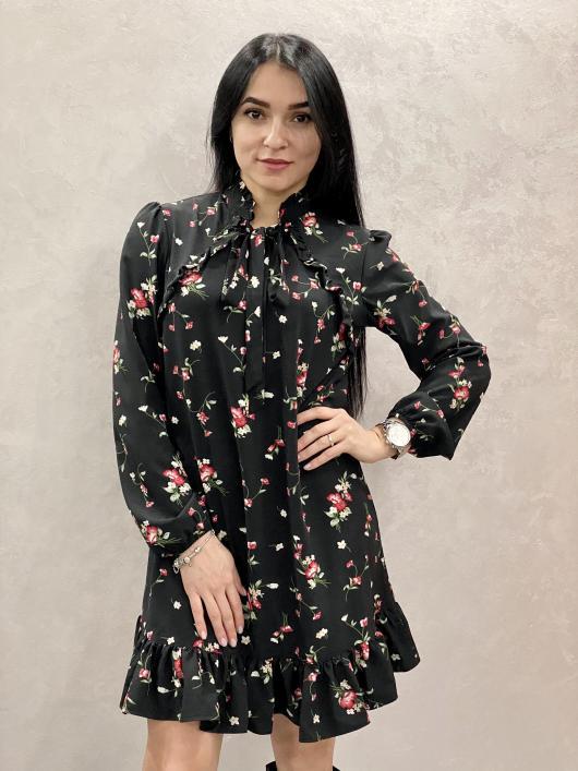 Женское платье Рюша принт цветы