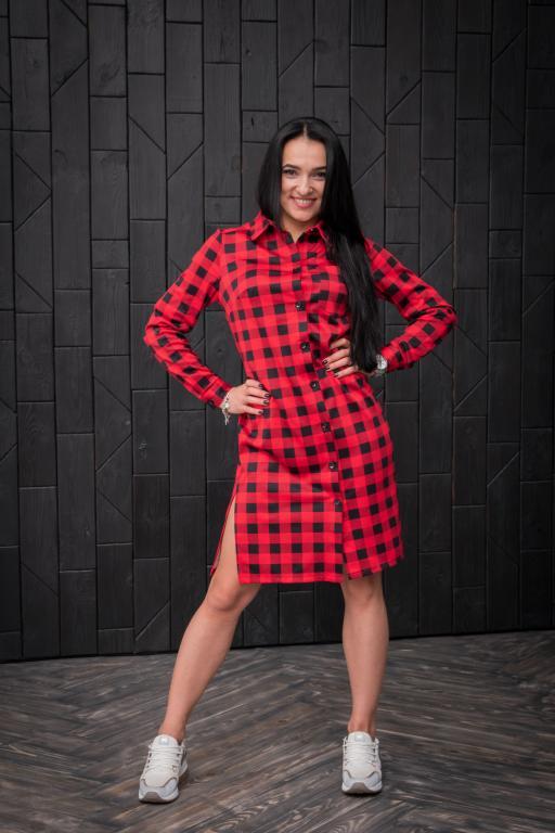 Платье Эрика в клетку красное