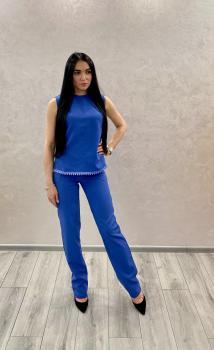 Женский летний костюм (блузка + брюки) синий