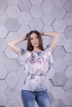 Блузка Ева белая с цветочным принтом