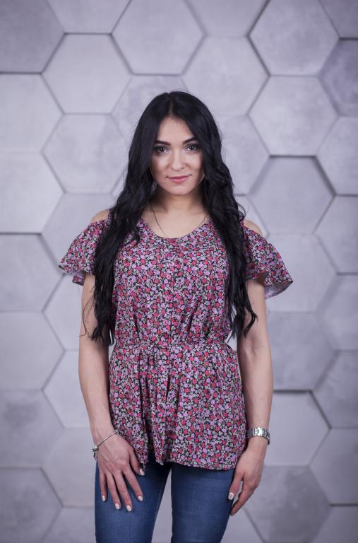 Блузка Мая с цветочным принтом