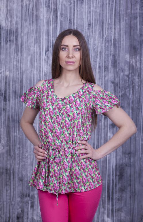 Блузка Мая яркая с цветочным принтом