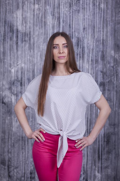 Блузка Вики белая в горох