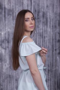 Блузка Мая мятная в полоску