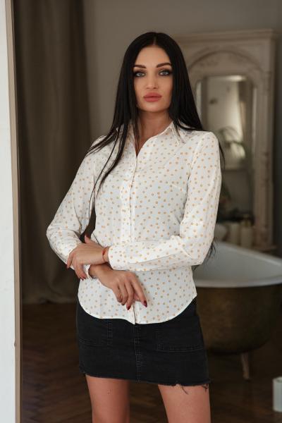 Рубашка Слава дизайн мелкий горох белый