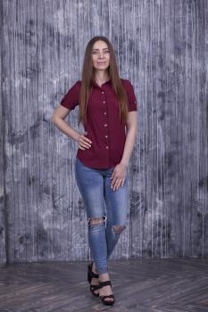 Рубашка Слава с коротким рукавом бордовая