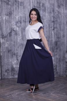 Женский костюм (футболка + юбка) белый с тёмно-синим