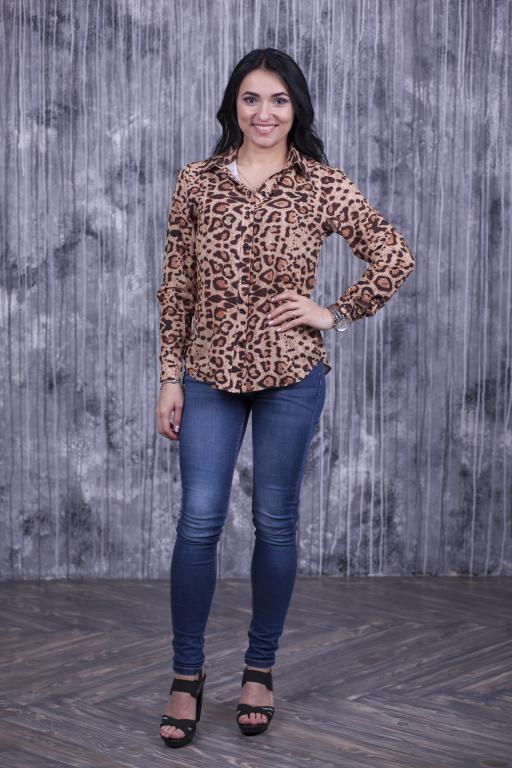 Рубашка Слава с леопардовым принтом