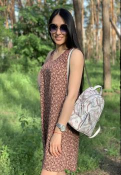 Платье летнее Ирина коричневое с принтом