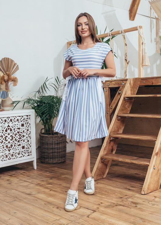 Женское летнее платье с принтом полоска