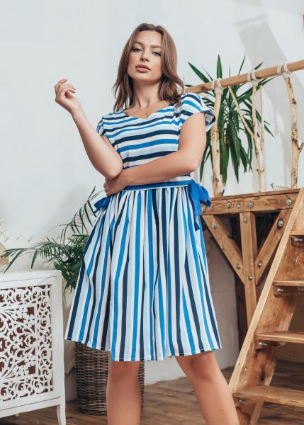 Женское платье полоска цвет синий с голубым и белым