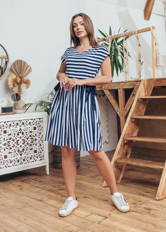Женское летнее платье темно-синее с белым в полоску