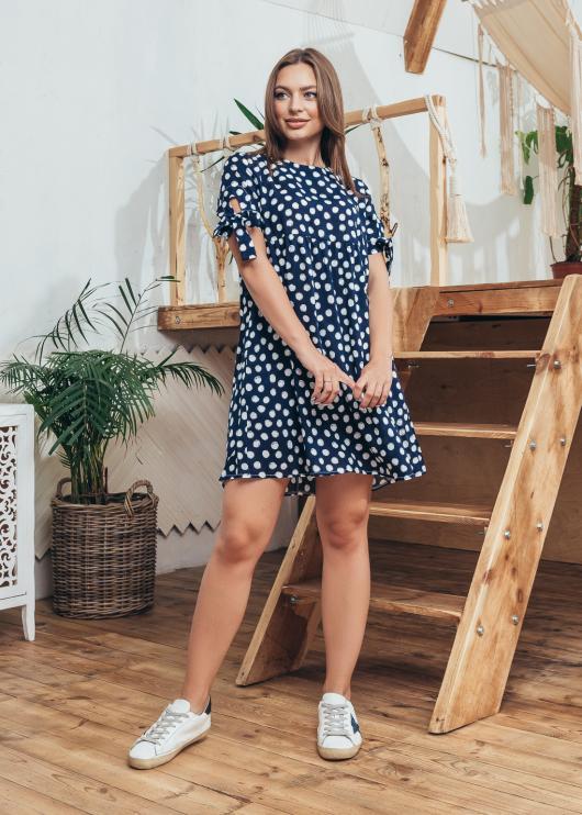 Женское летнее платье синее в горох