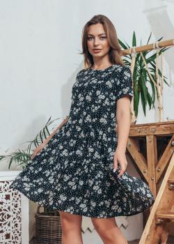 Платье Селин черное с цветочным принтом