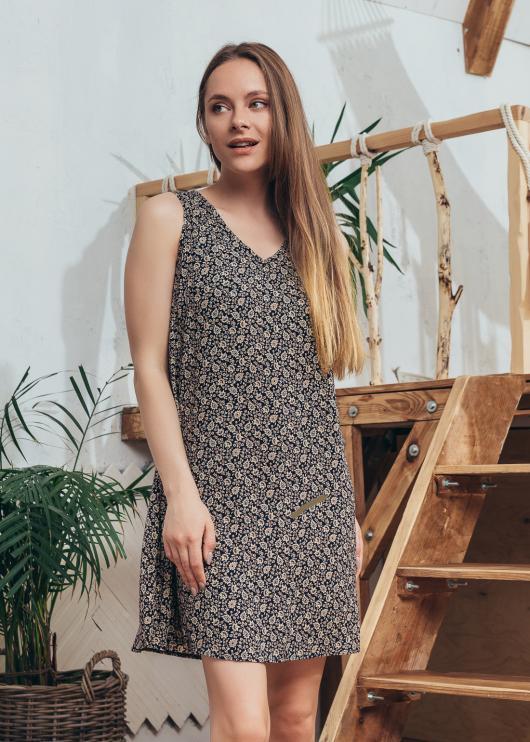 Платье Ирина цвет черный с принтом